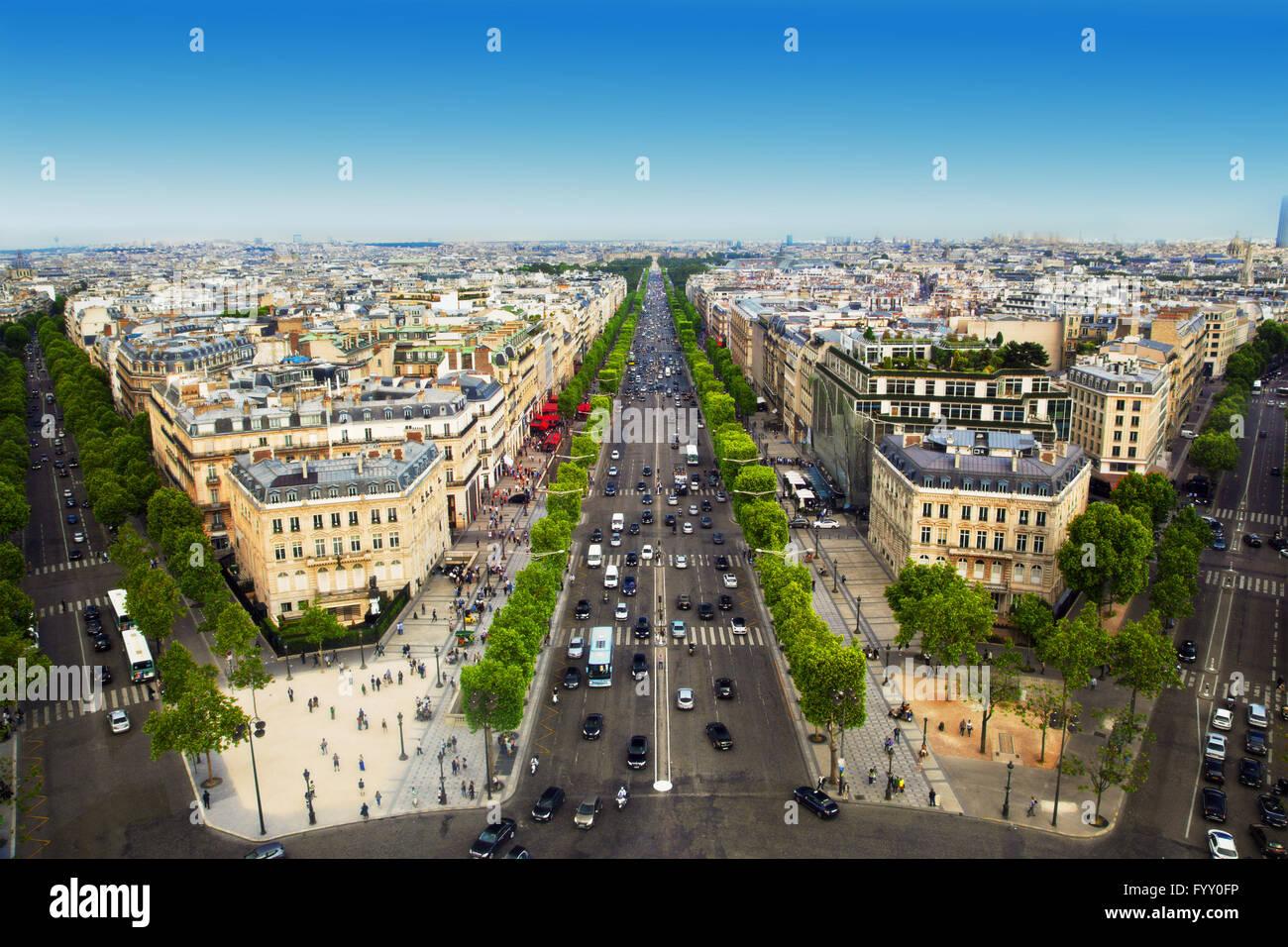 Avenue des Champs-Elysees in Paris, France - Stock Image
