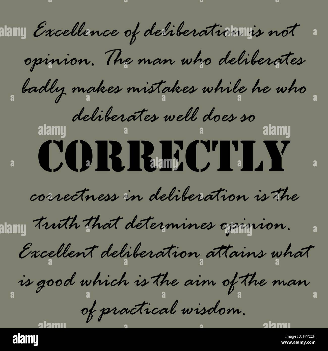 Aristotle Quotes. Excellence of deliberation Stock Vector ...