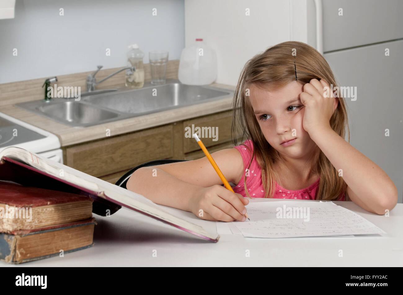 Girl Doing Homework - Stock Image
