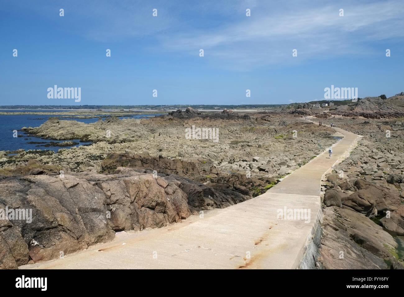 La Corbiere, causeway to the mainland Stock Photo