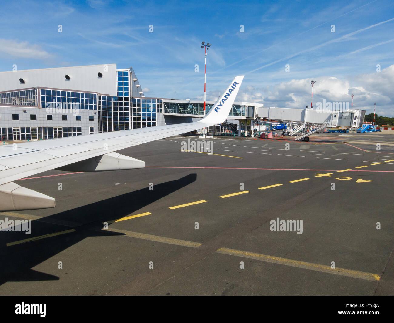 Ryanair airplane at Biarritz Anglet Bayonne Airport, France - Stock Image