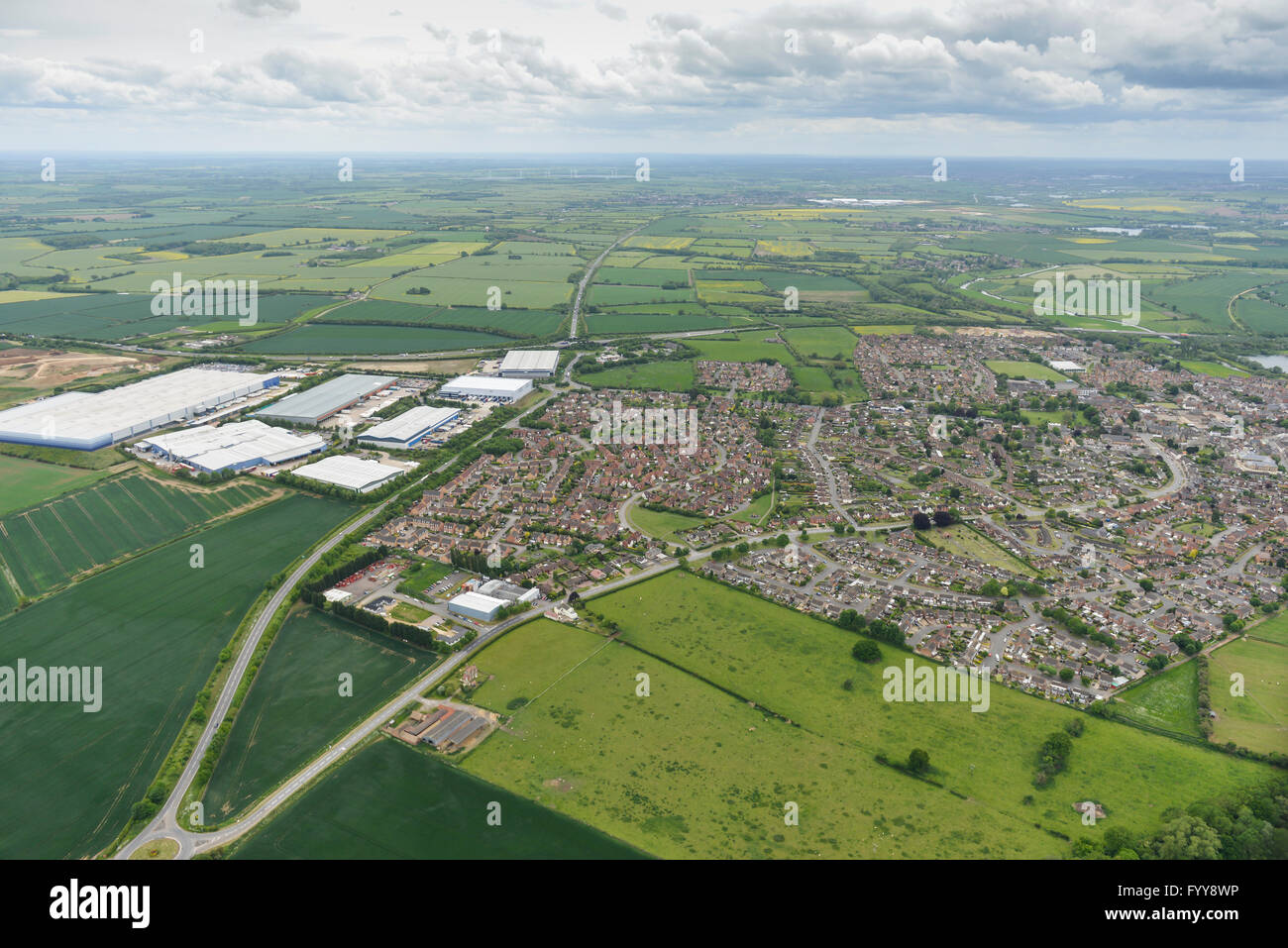 An aerial view of Thrapston, Northamptonshire, also visible is the Haldens Parkway business centre - Stock Image