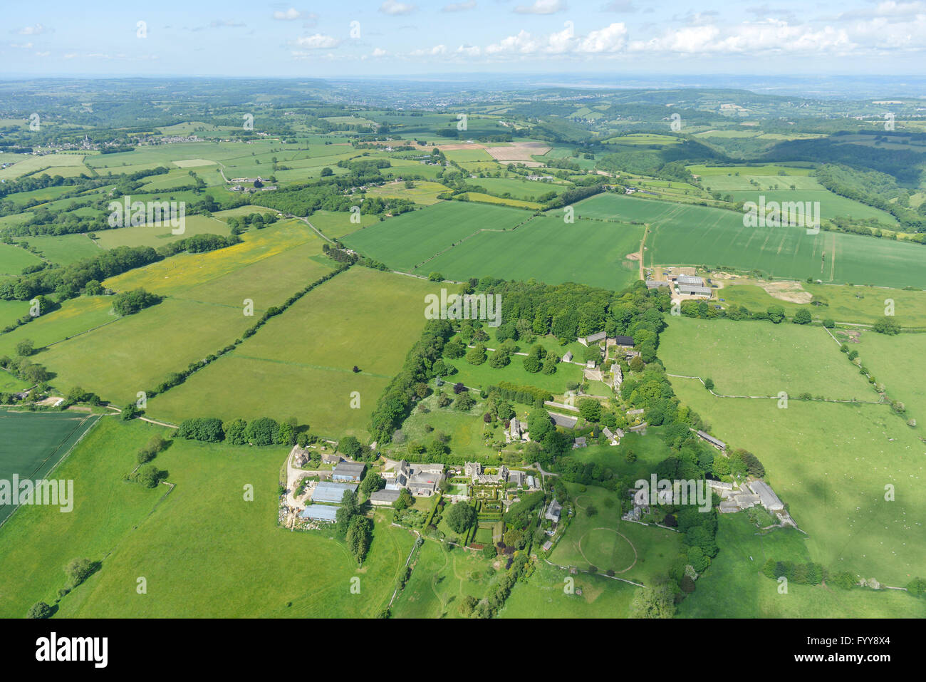 An aerial view of an English Hamlet and surrounding countryside Stock Photo