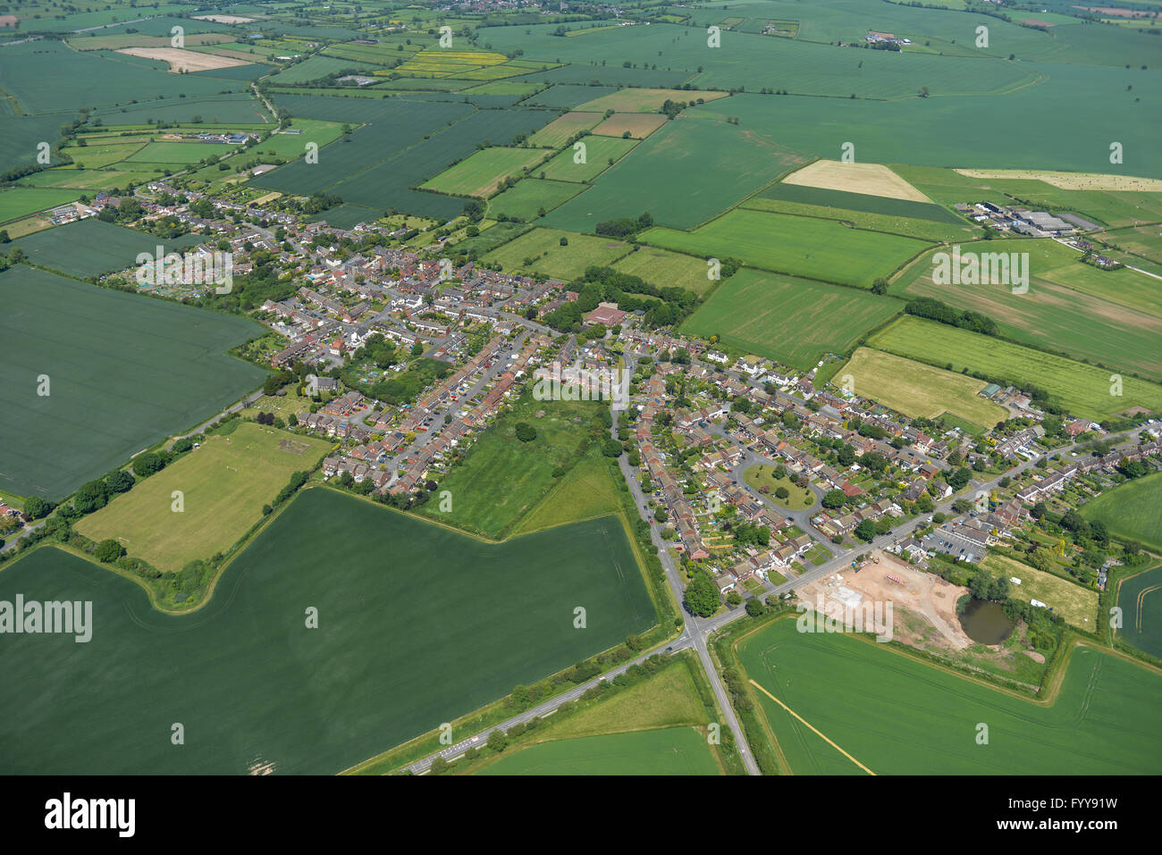 An aerial view of the village of Warton and surrounding Warwickshire countryside - Stock Image