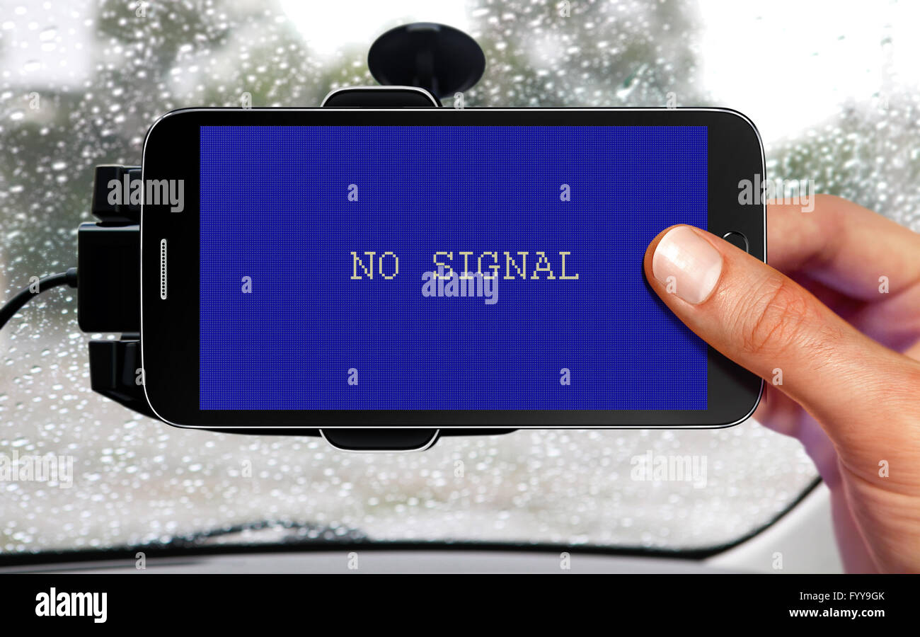 no signal from portable device for navigation of car - Stock Image