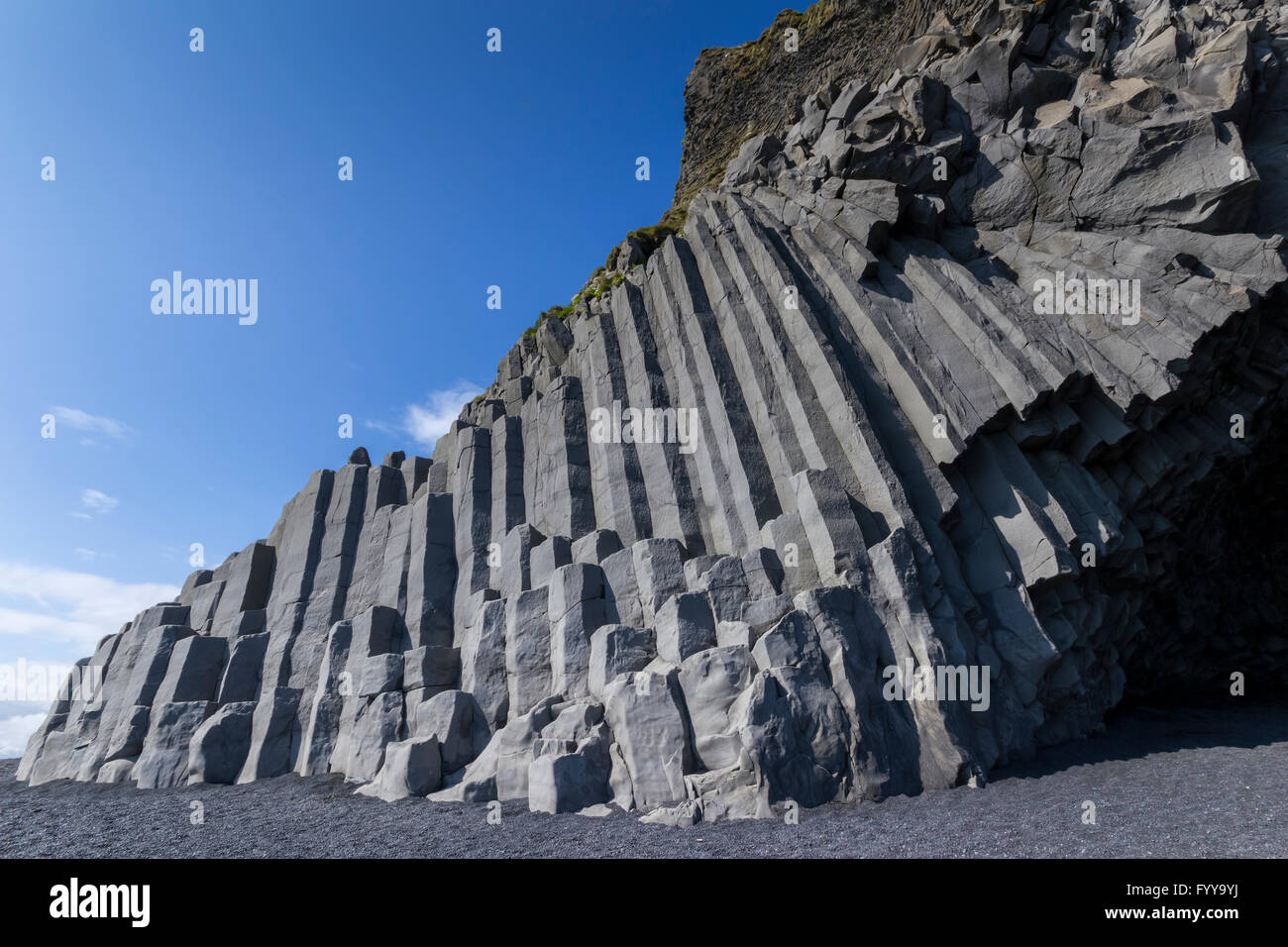 Rock outcrop at Dyrhalaey near the town of Vik in Iceland Stock Photo