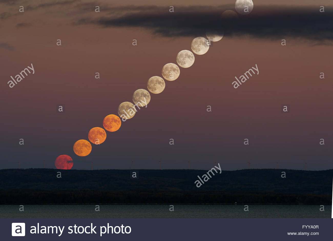 Moonrise sequence - Stock Image