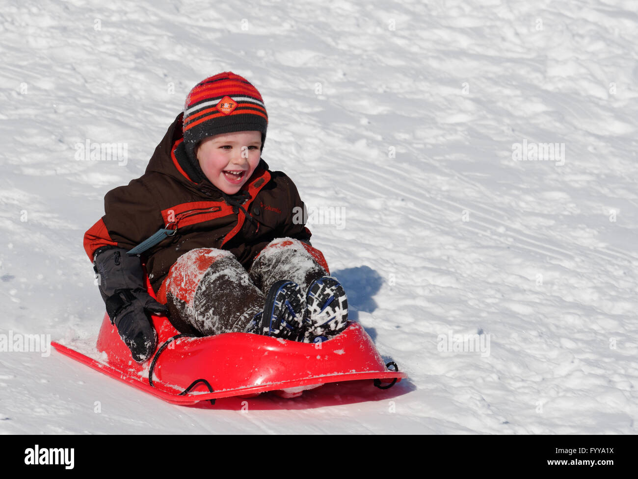 Laughing 4 year old boy in a sledge - Stock Image