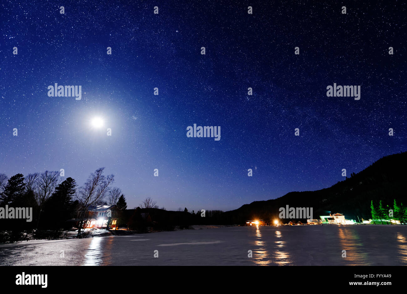 Starry winter night in Quebec - Stock Image