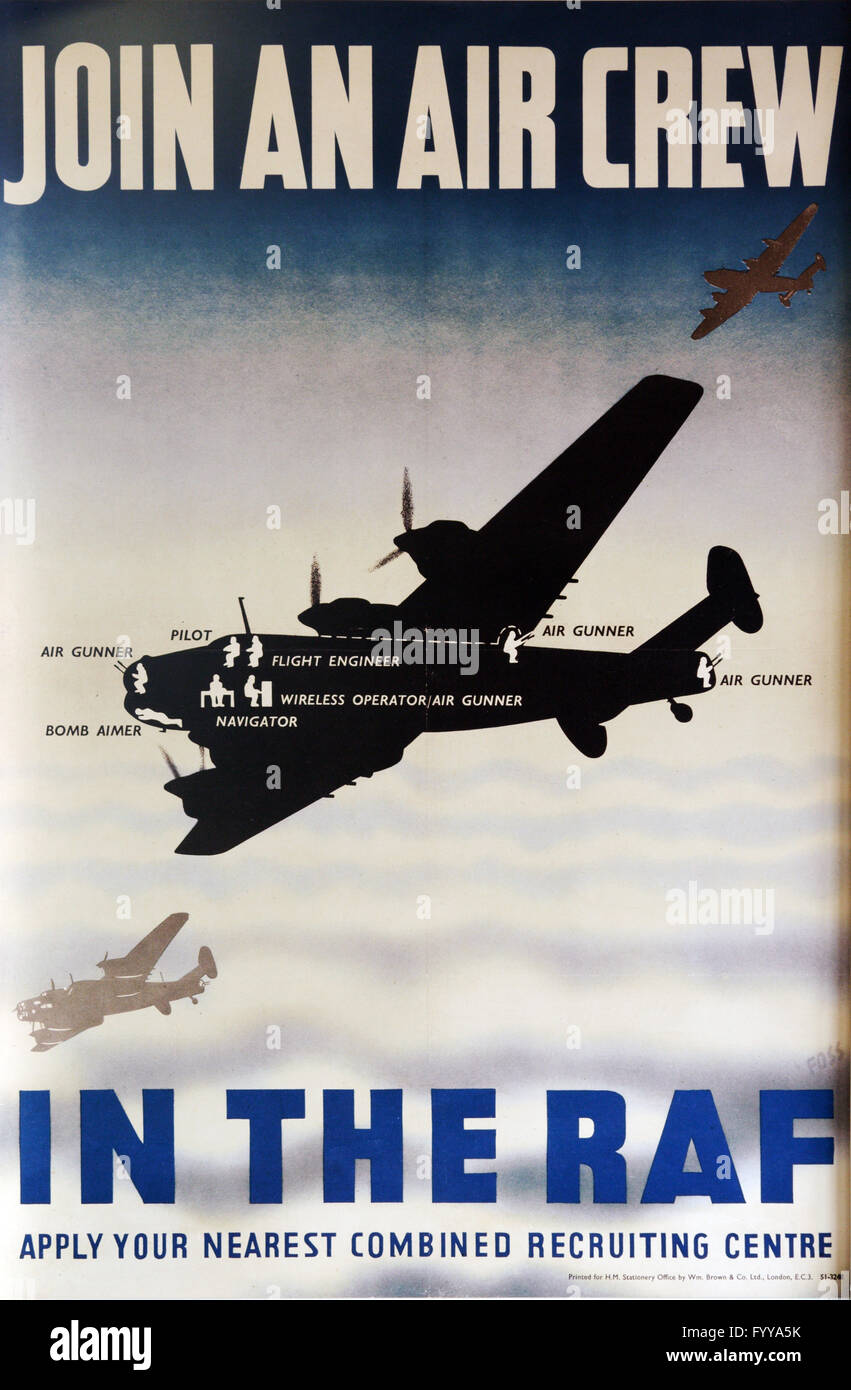 Second World War RAF recruiting poster - Stock Image