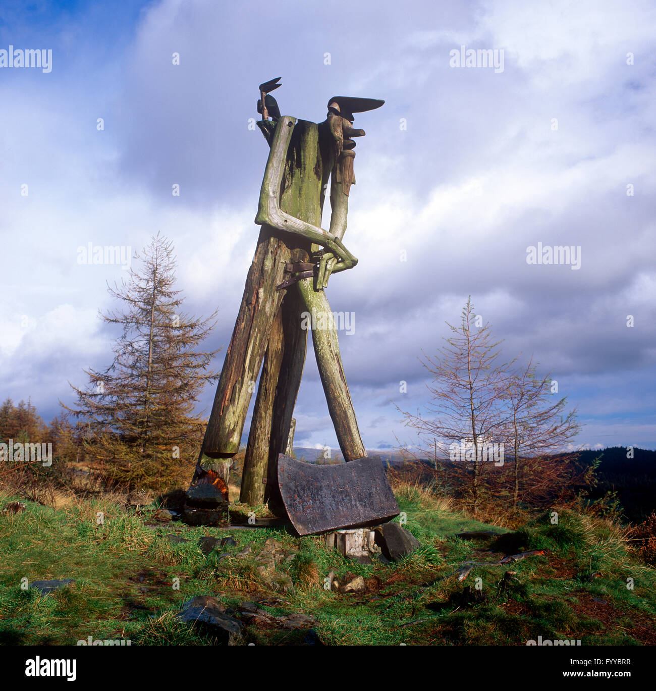 Axe-man sculpture Grizedale Forest Park Lakes Cumbria, outside. - Stock Image