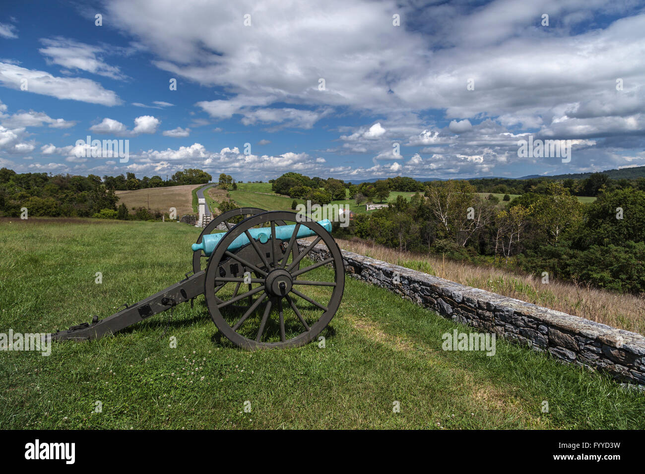 An artillery piece rests at the site of the final attack of the battle of Antietam during the U.S. Civil War. Stock Photo
