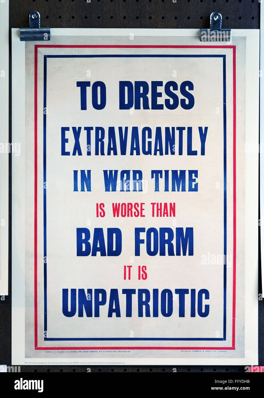 Second World War Dress Code poster promoting modest dress and wartime austerity - Stock Image