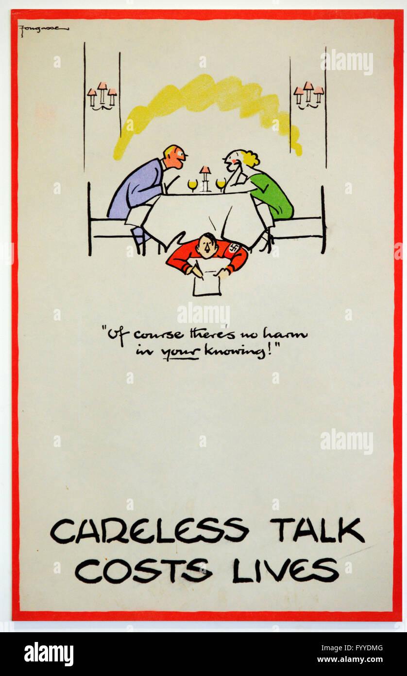 Second World War 'Careless Talk Costs Lives' warning poster - Stock Image
