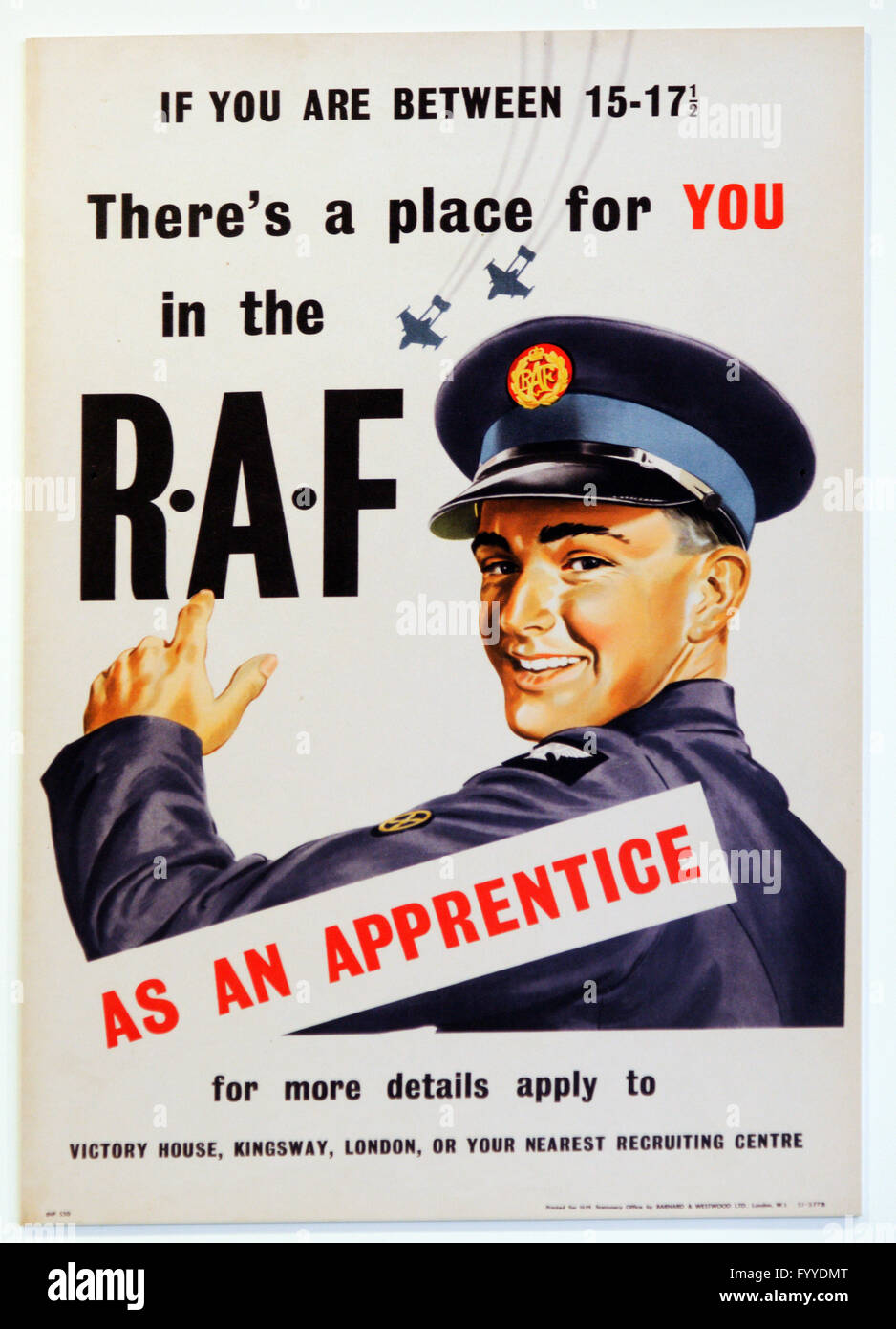Second World War RAF Apprentice recruitment poster - Stock Image