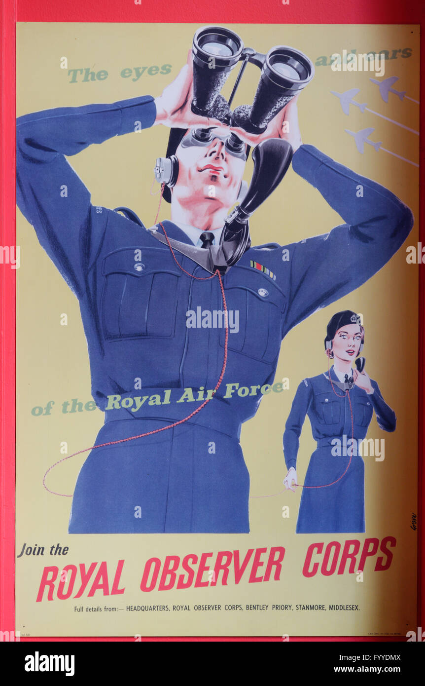 Second World War Royal Observer Corps recruitment poster - Stock Image