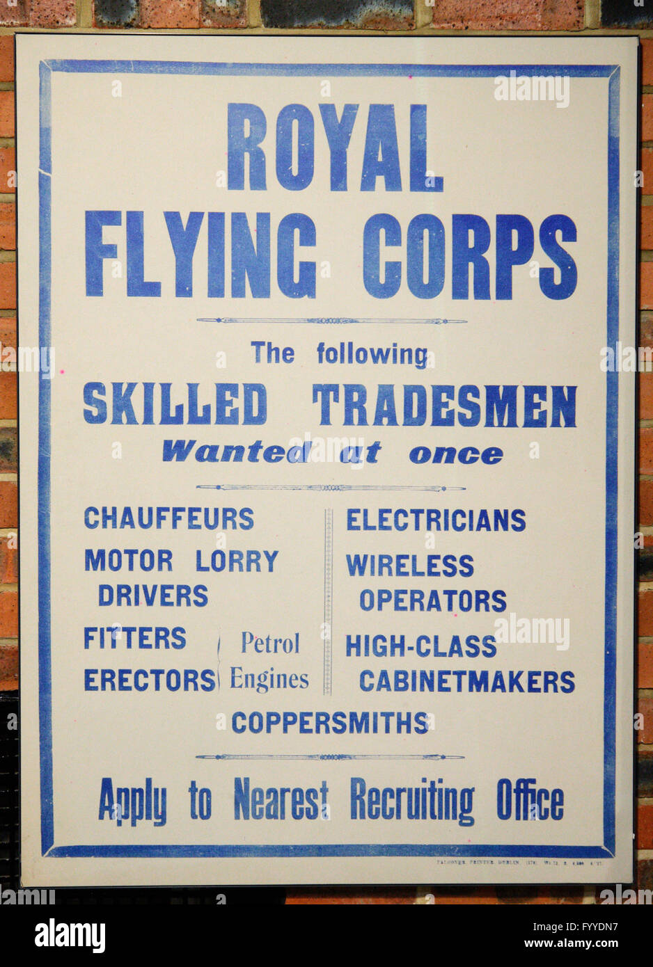 First World War poster recruiting skilled tradesmen for the Royal Flying Corps - Stock Image