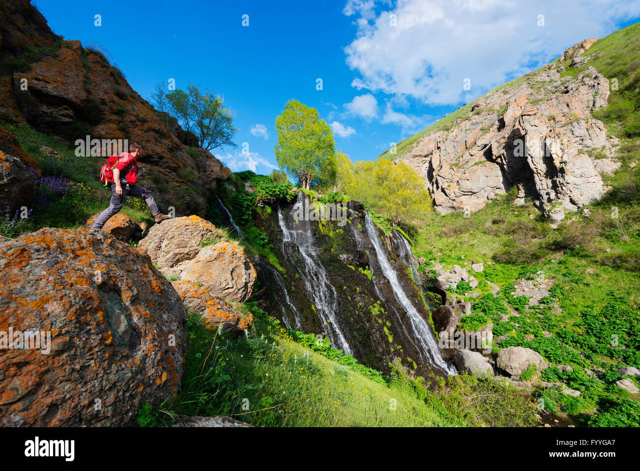 Eurasia, Caucasus region, Armenia, Syunik province, Shaki waterfall Stock Photo