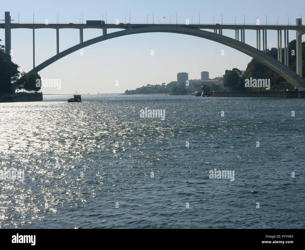 Ponte da Arrabida, last bridge over Douro River towards Atlantic Ocean, Porto, Portugal Stock Photo