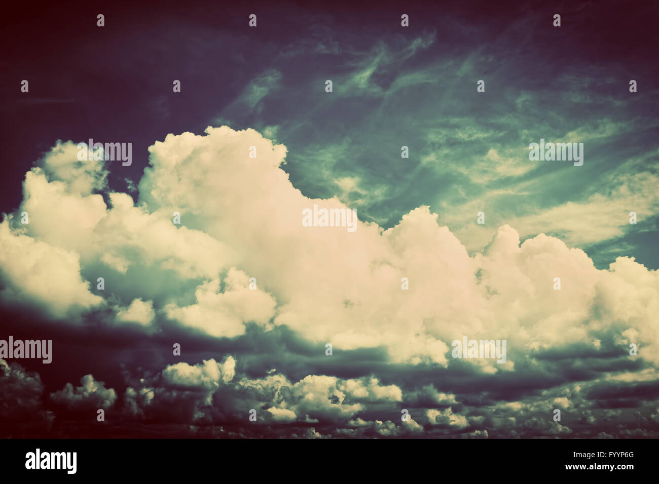 Sky with fluffy clouds. Retro - Stock Image