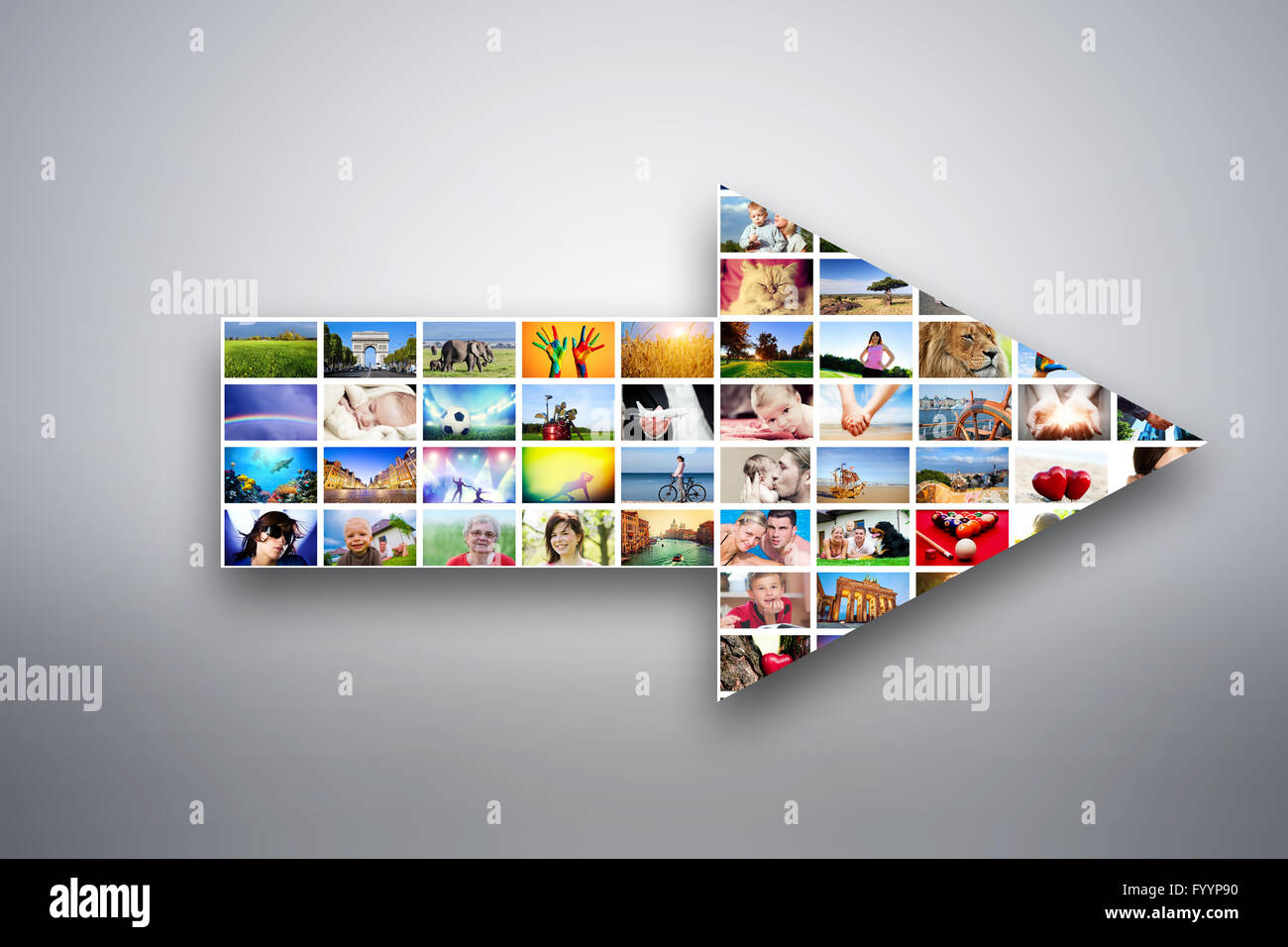 Arrow design element made of pictures - Stock Image