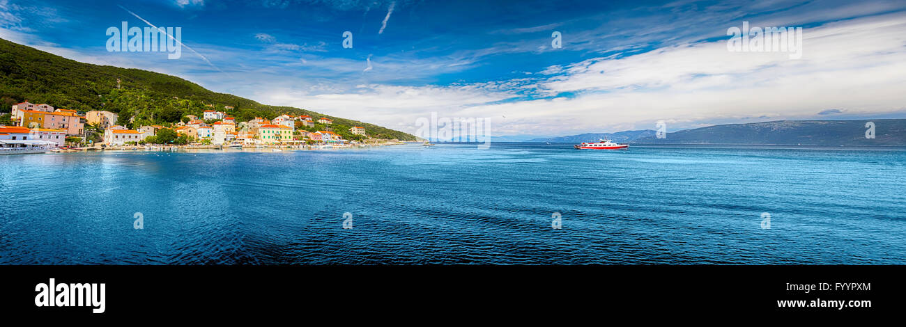 VALUN, CROATIA - August 26, 2914: Panorama view to the village Valun with harbor and boats, Cres island, Croatia Stock Photo