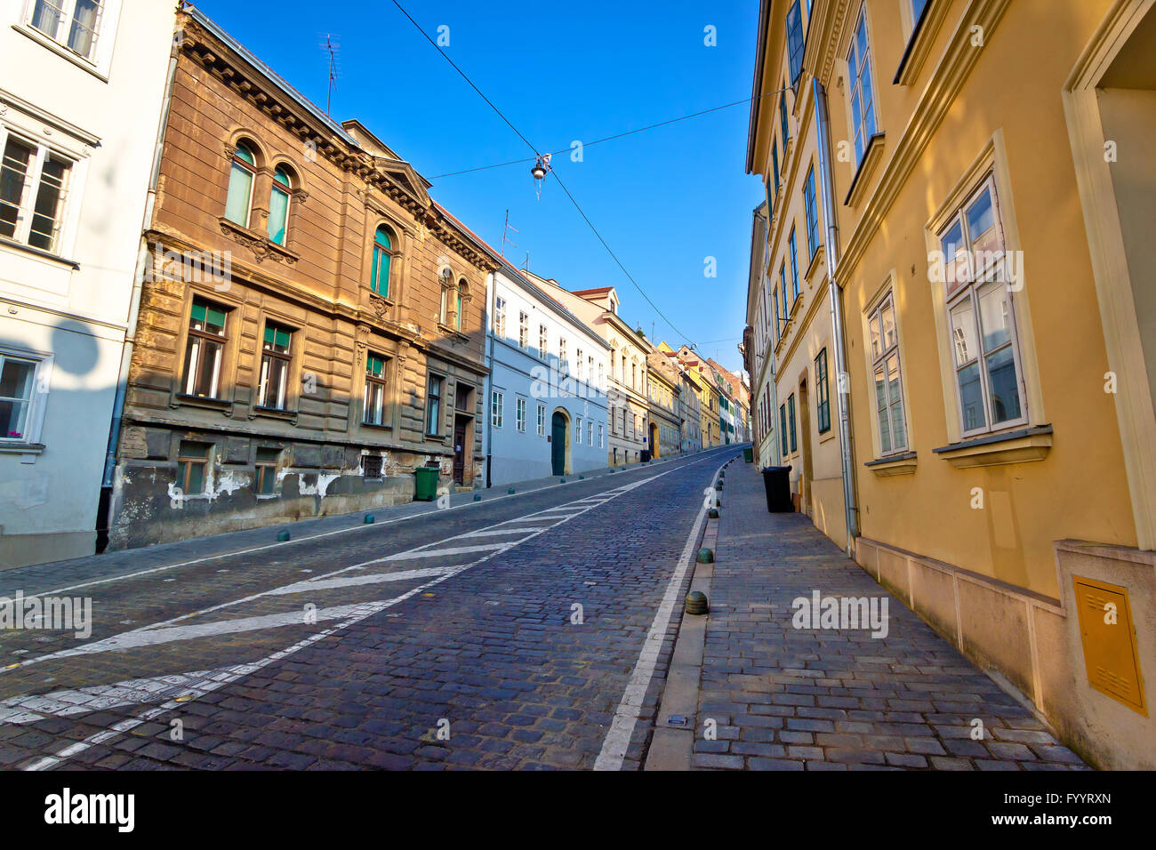 Old Mesnicka street in Zagreb upper town Stock Photo