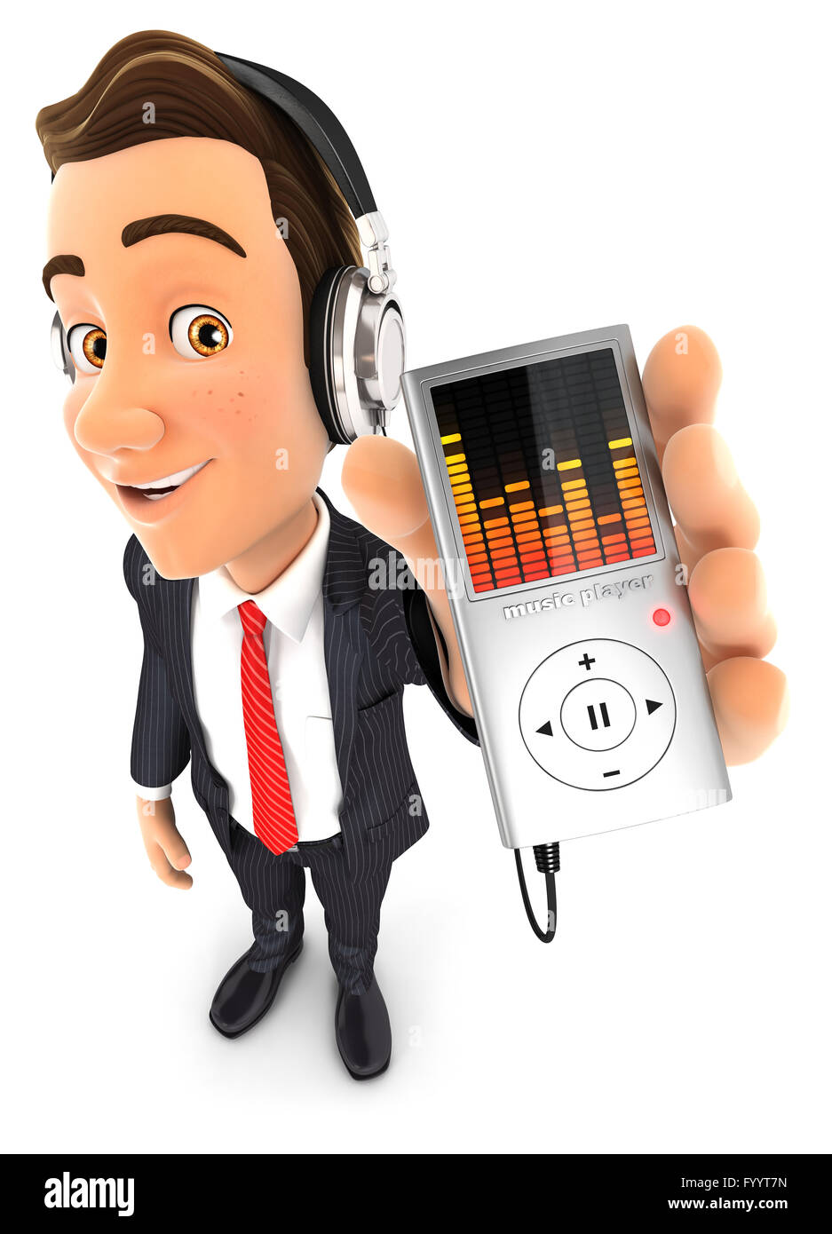 3d businessman listening music on mp3 player, isolated white background Stock Photo