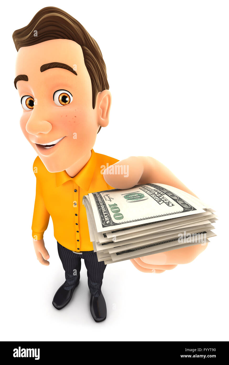 3d man holding a stack of dollar bills, isolated white background Stock Photo