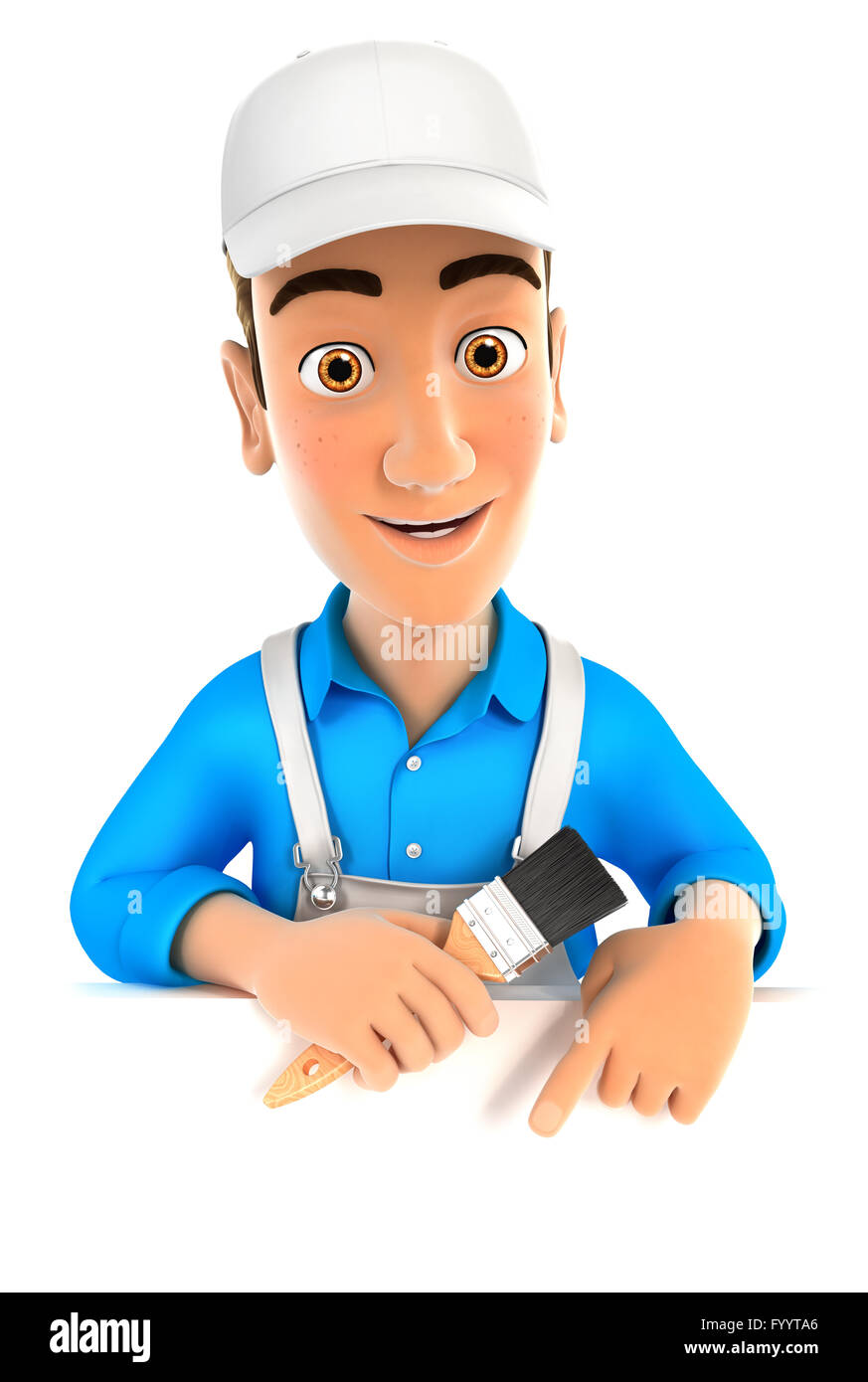 3d painter pointing to empty wall, illustration with isolated white background Stock Photo