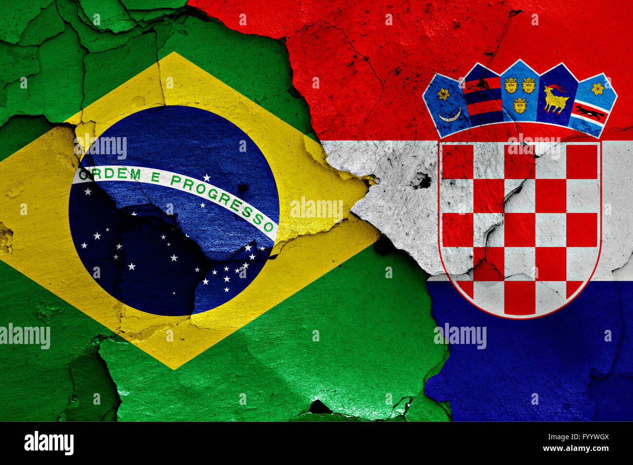 flags of Brazil and Croatia painted on cracked wall - Stock Image