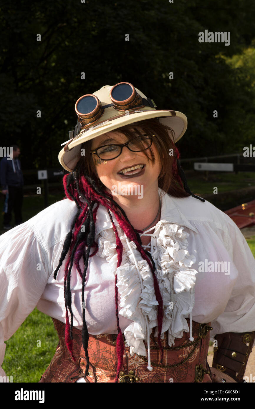 UK, England, Yorkshire, Calderdale, Hebden Bridge, steampunk enthusiast Claire Bevan from York - Stock Image