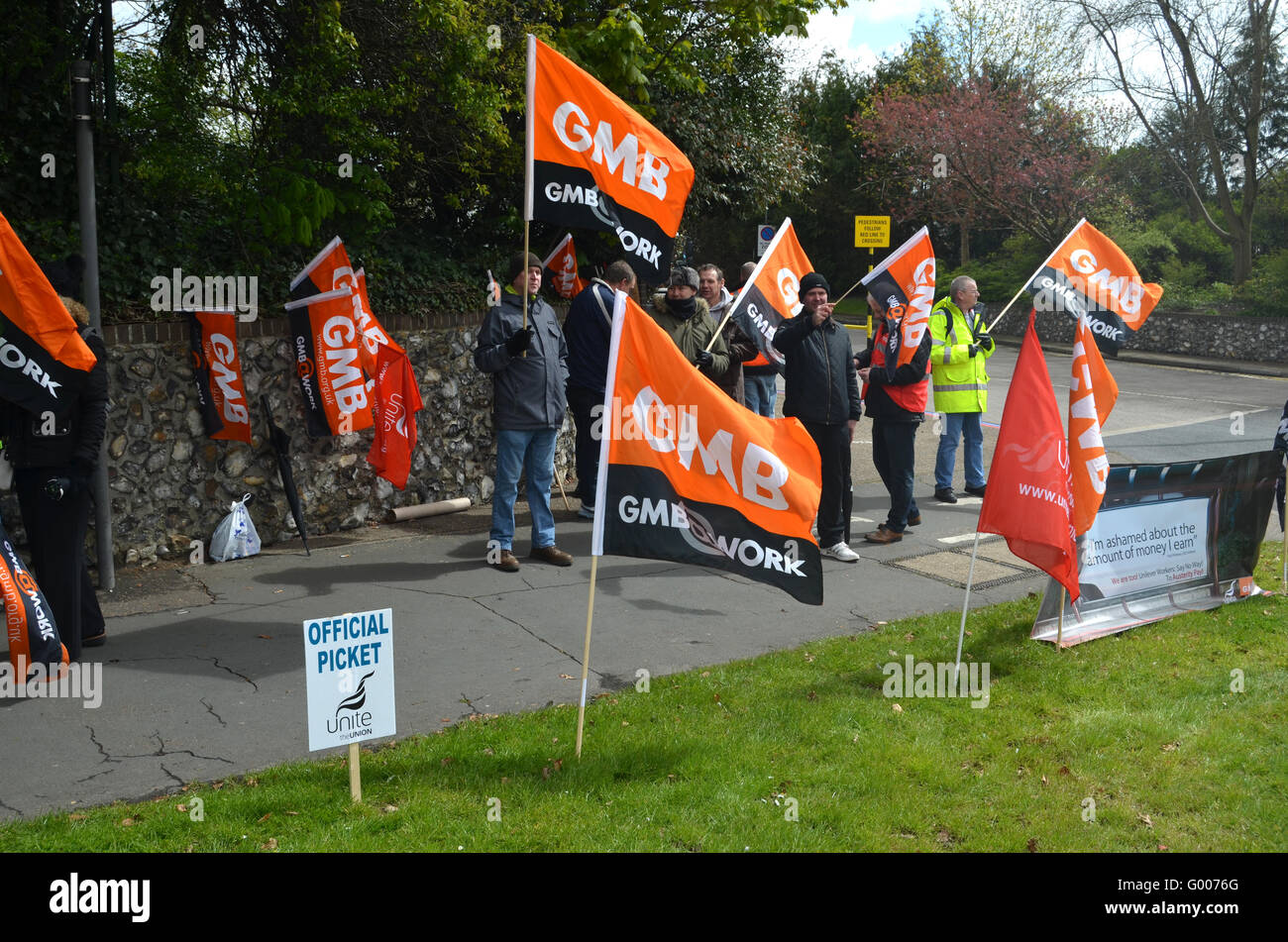 Strike at Colman's mustard factory (owned by Unilever), Norwich, in a dispute over pay. GMB & Unite members - Stock Image