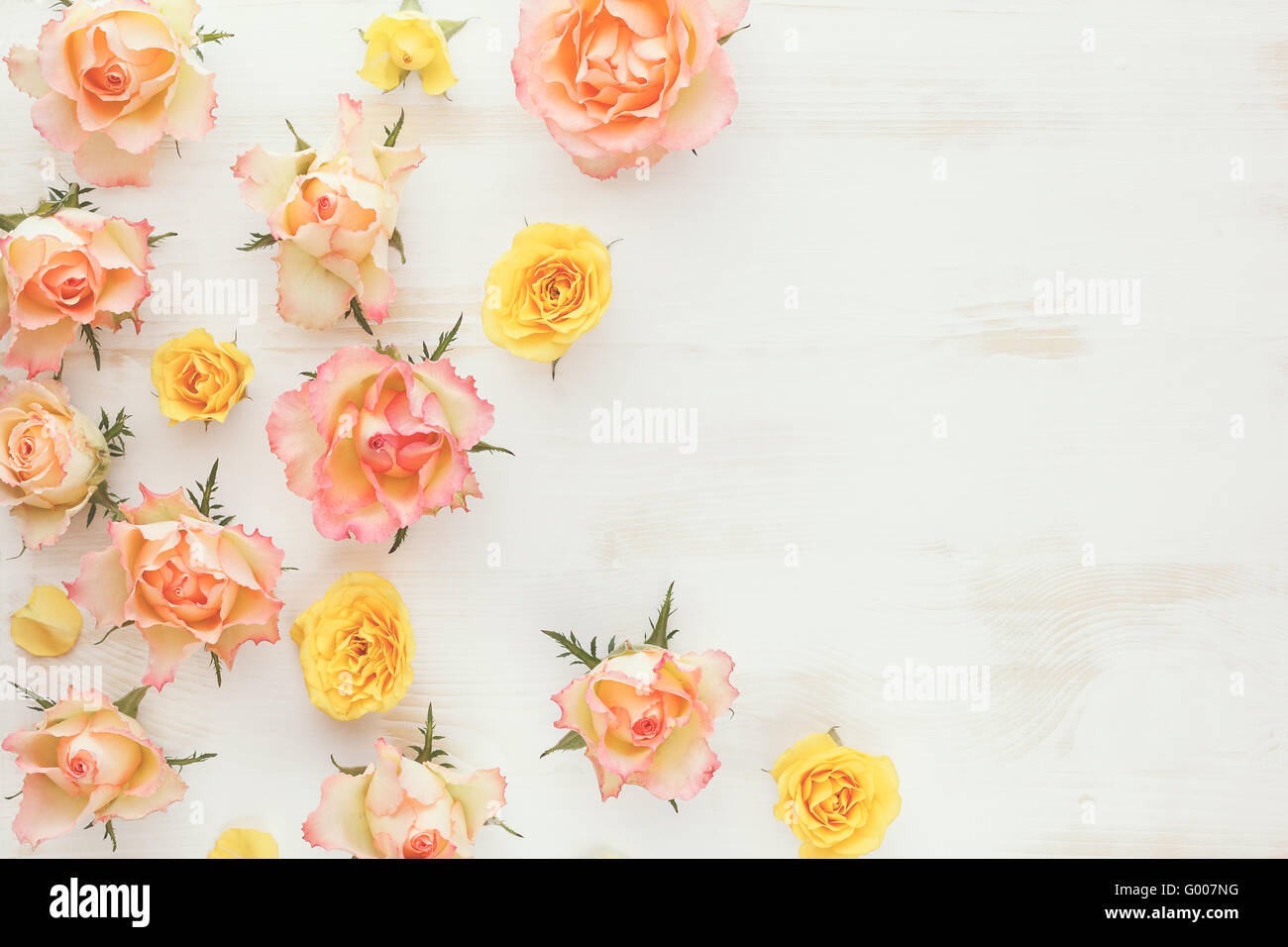 Vintage Fresh Rose Floral Background Various Type Of Flowers Arranged On Rustic Wood