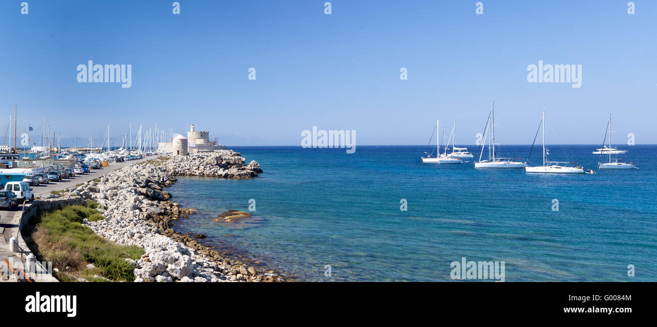 Beautiful small harbour Rhodos island, Greece - Stock Image