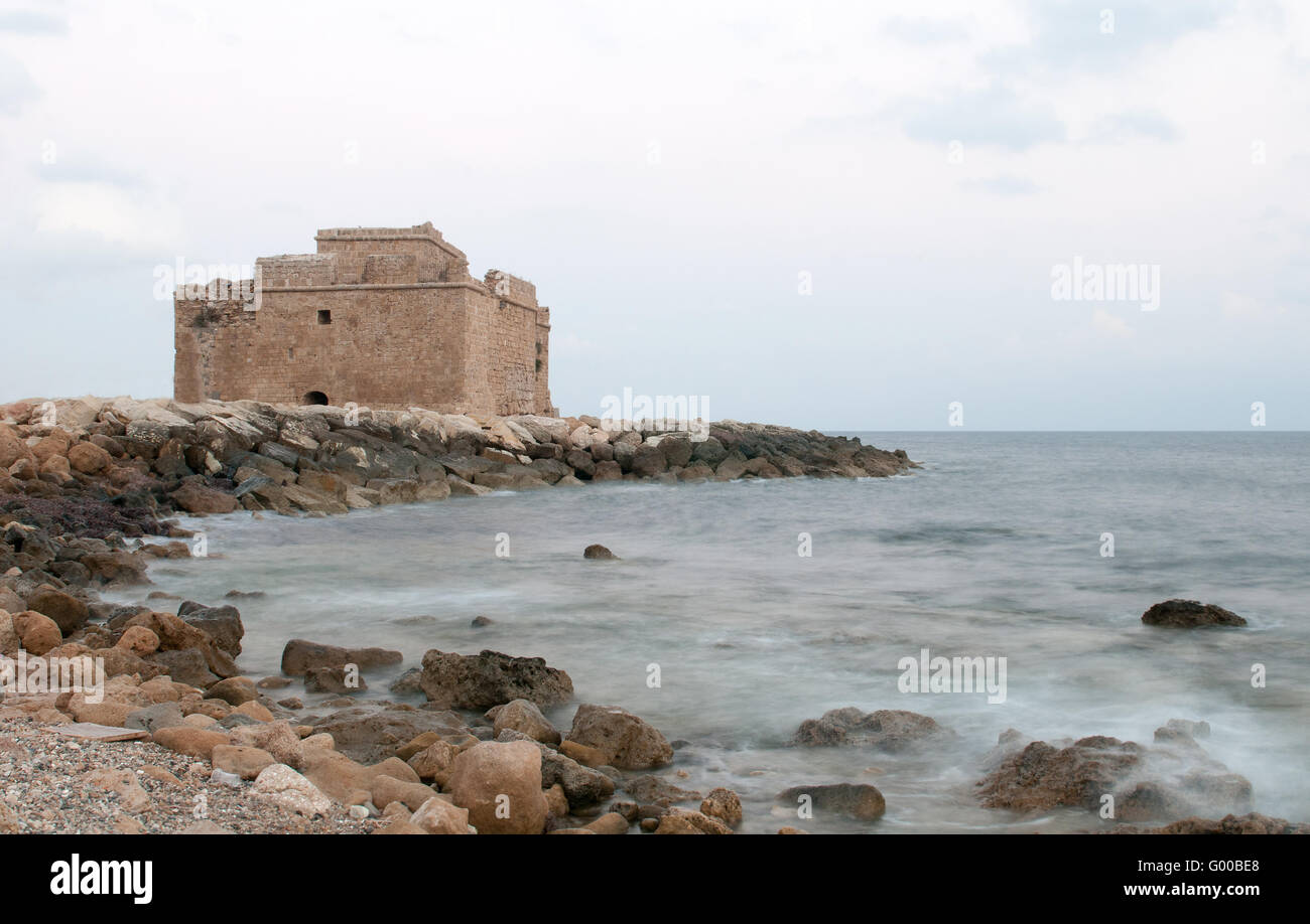 Famous ancient Castle of Paphos originally build as a Byzantine fort located on the edge of Paphos harbor. - Stock Image