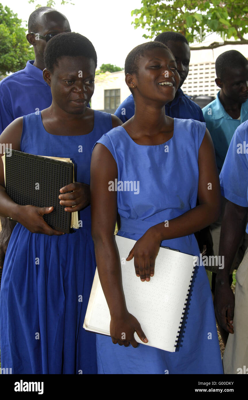 Students of the school for the blind in Akropong, Ghana - Stock Image