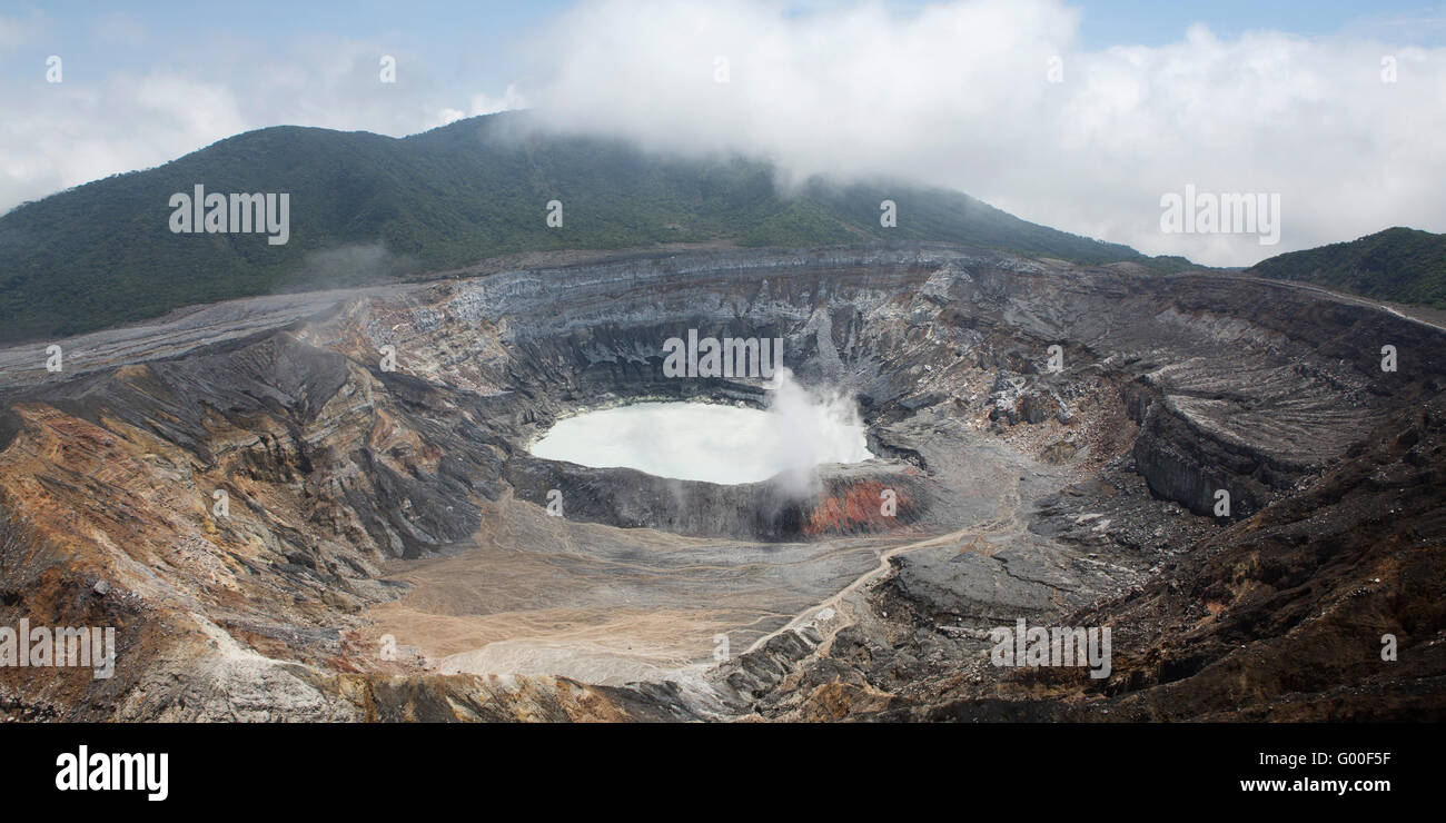 The crater of Poas Volcano in Parque Nacional Volcan Poas (Poas Volcano National Park) in Costa Rica. The 2,708 - Stock Image