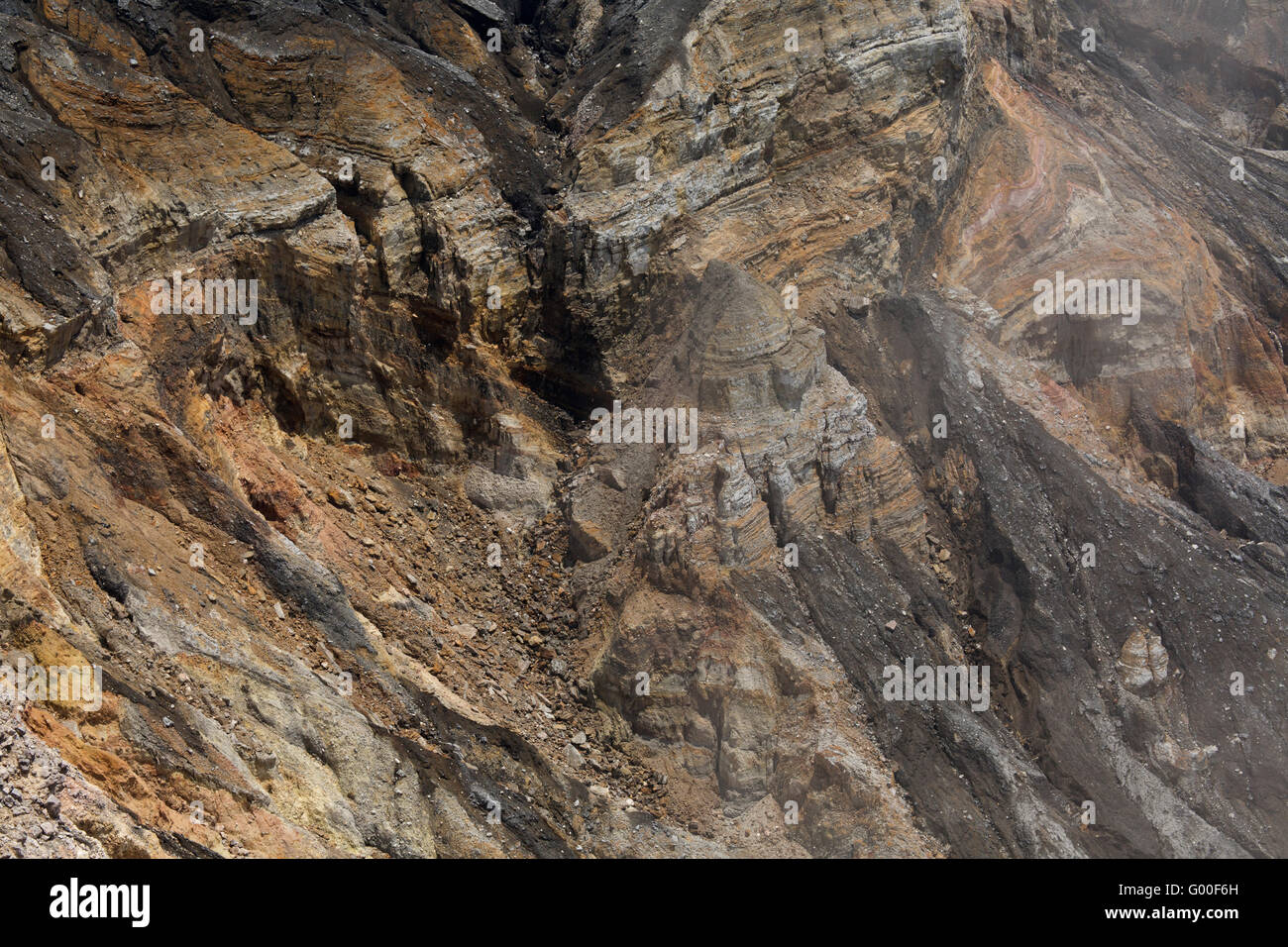 Stratified, mineral-rich rock in the crater of Poas Volcano in Poas Volcano National Park in Costa Rica. - Stock Image
