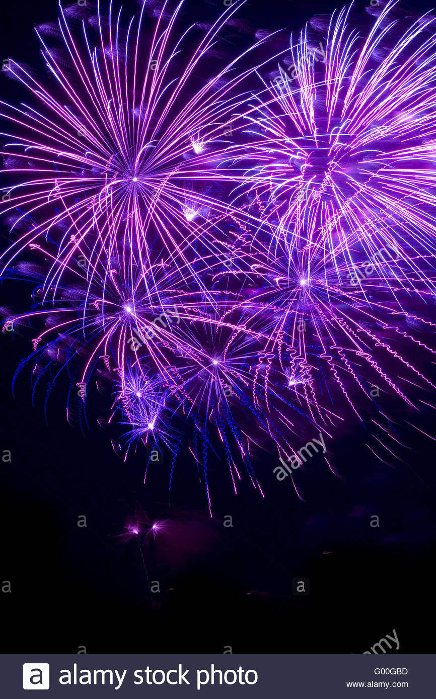 Purple fireworks - Stock Image