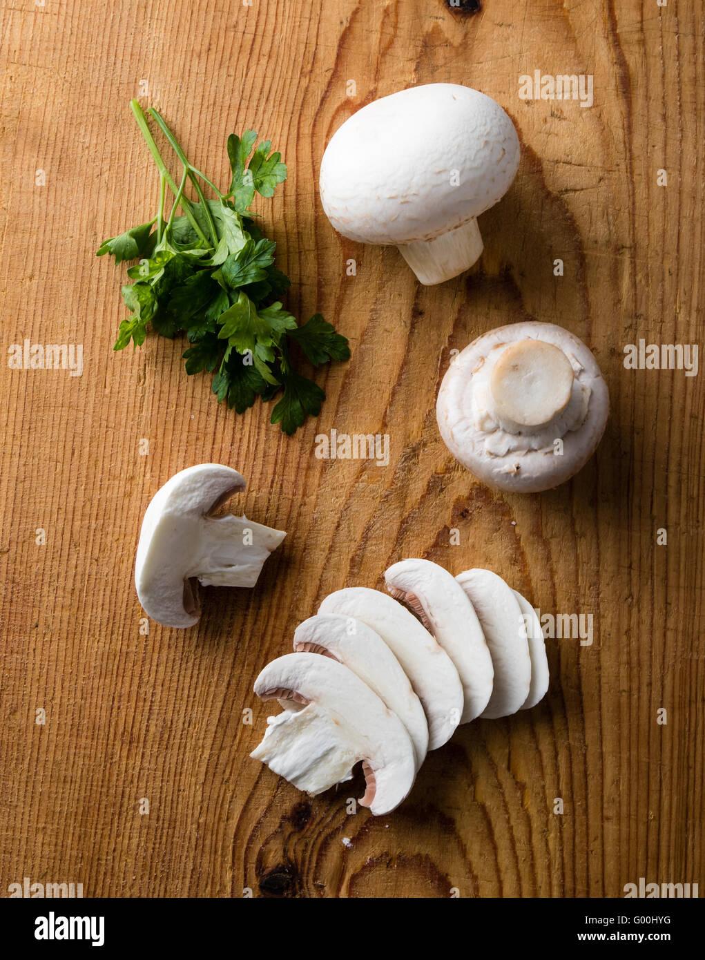 sliced white champignon mushrooms - Stock Image