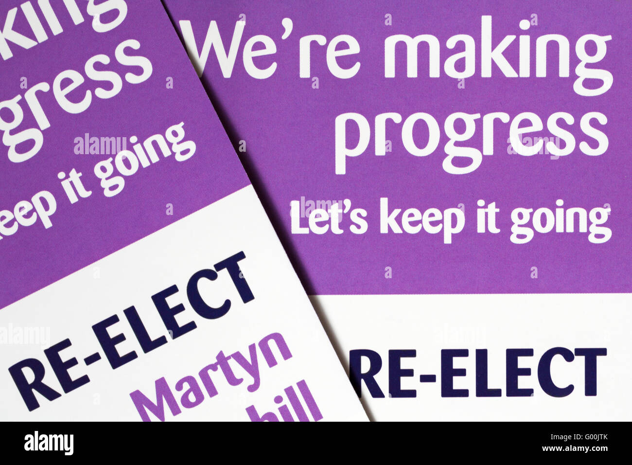 We're making progress let's keep it going info on leaflet to re-elect Martyn Underhill as Police & Crime - Stock Image