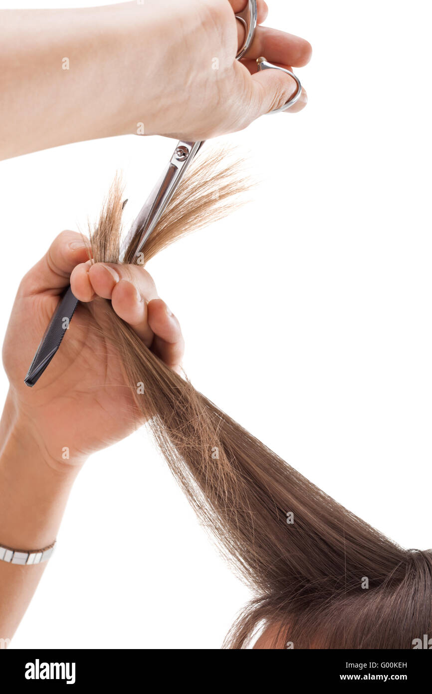 Professional hairdresser with long hair model - Stock Image