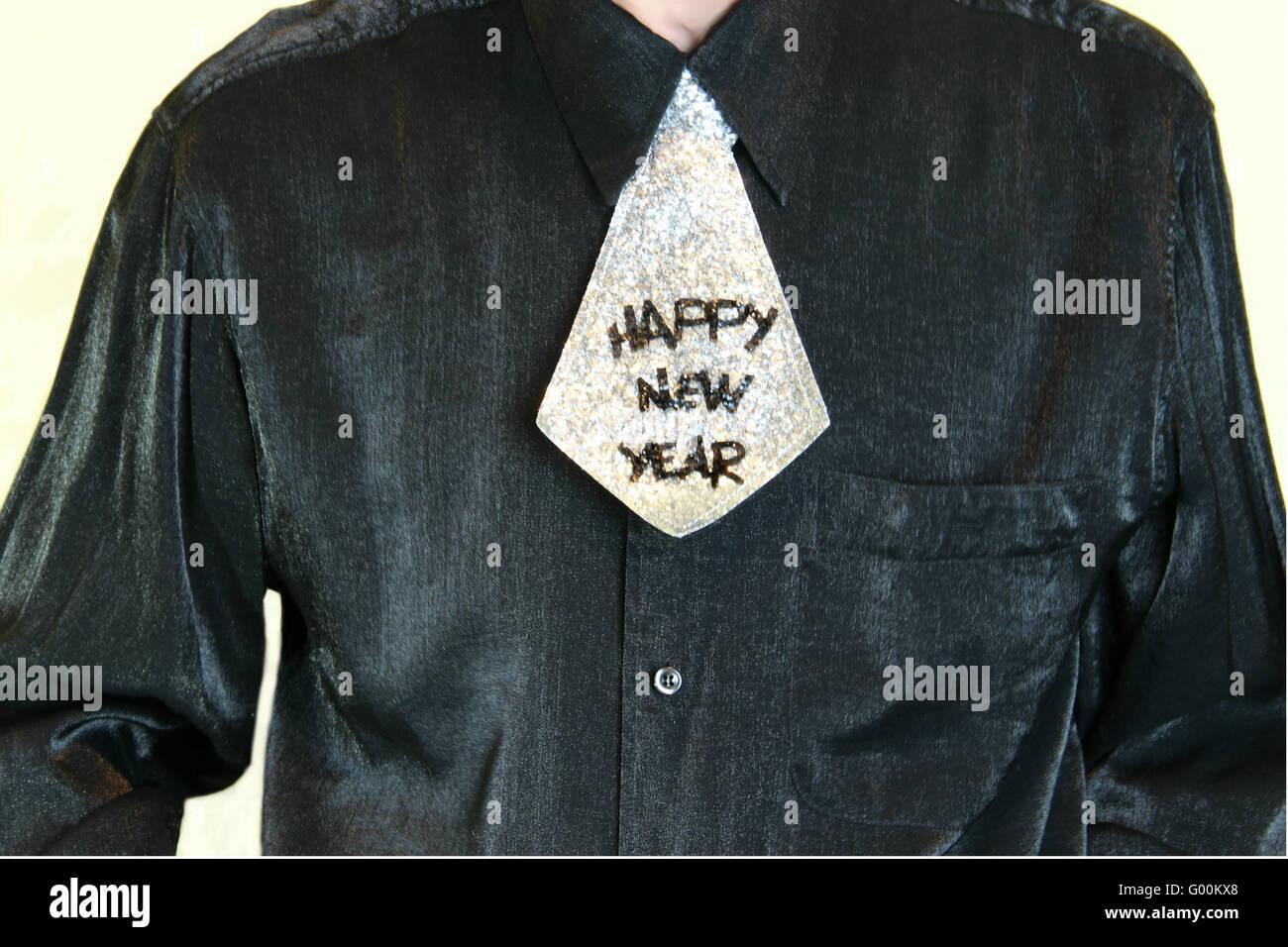 HAPPY NEW YEAR, shirt, tie Stock Photo