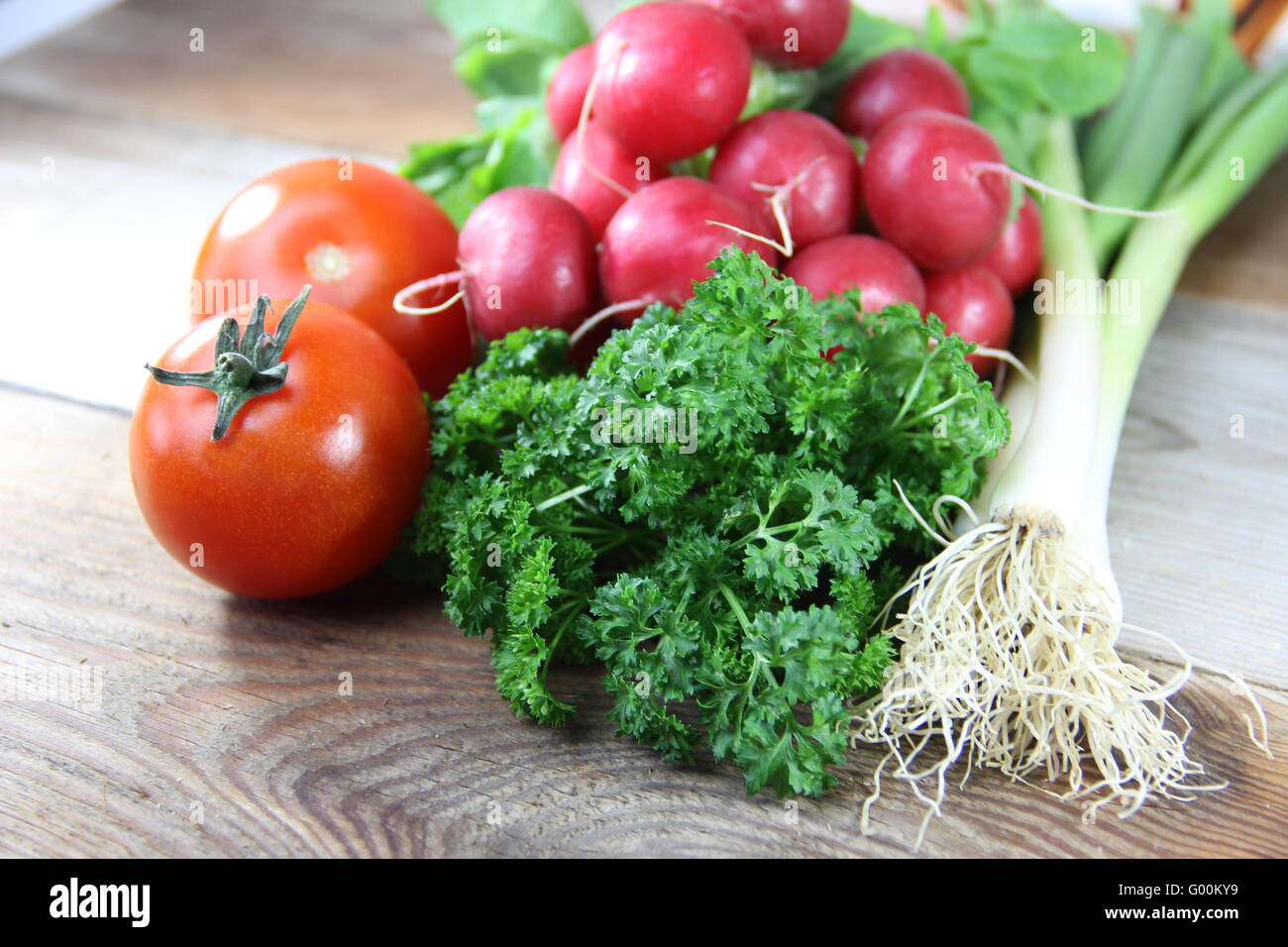 Tomatoes, parsley, leeks and more - Stock Image