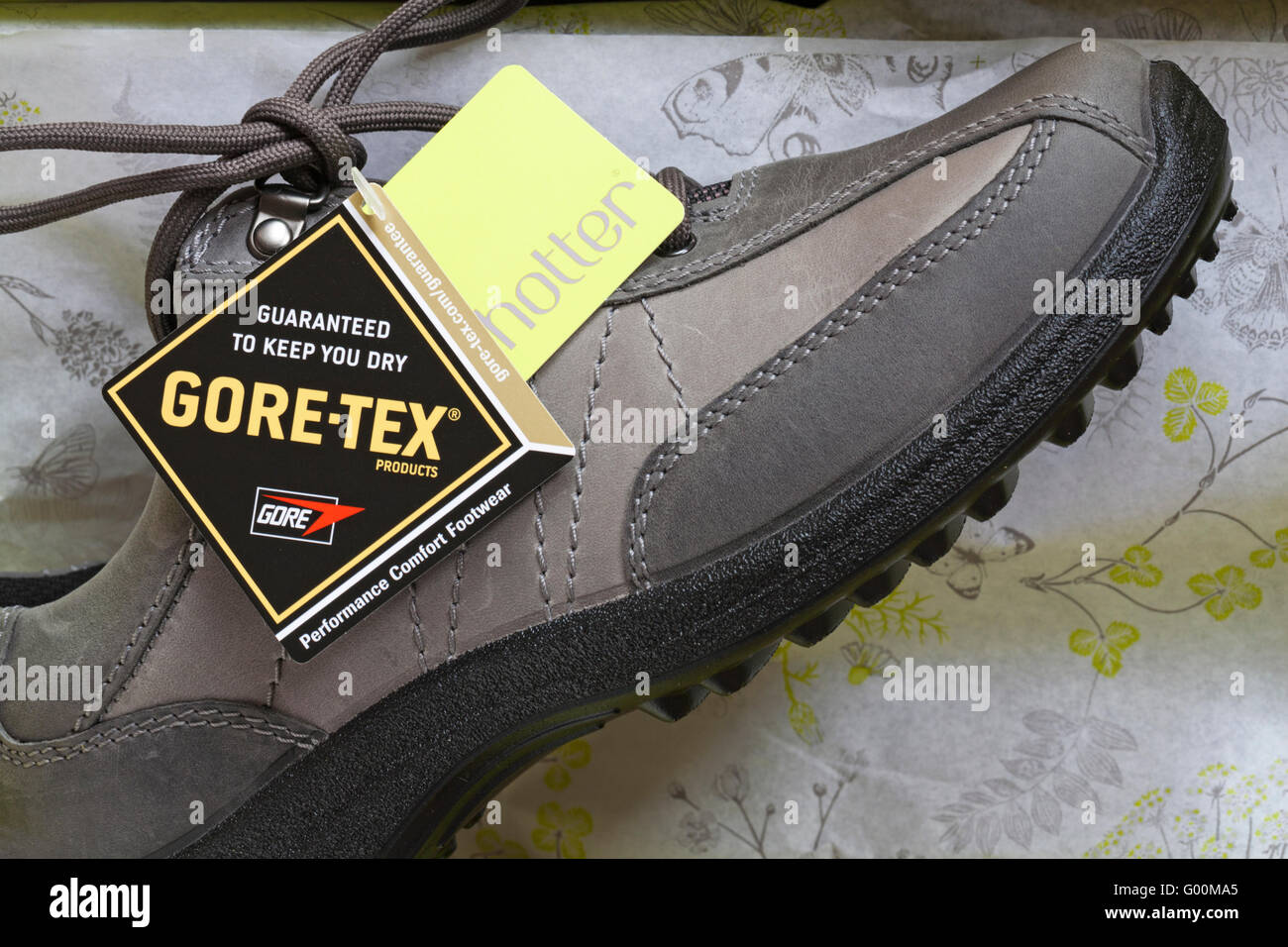 664bf72dd2b labels on Hotter Gore-tex shoes guaranteed to keep you dry Stock ...