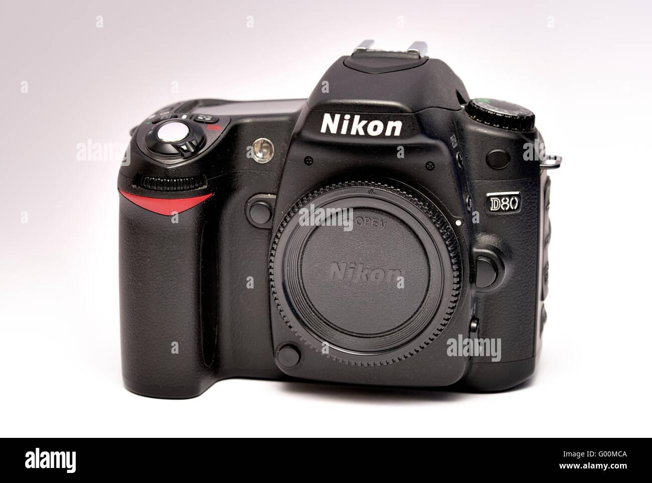 A Nikon D80 digital SLR camera - Stock Image