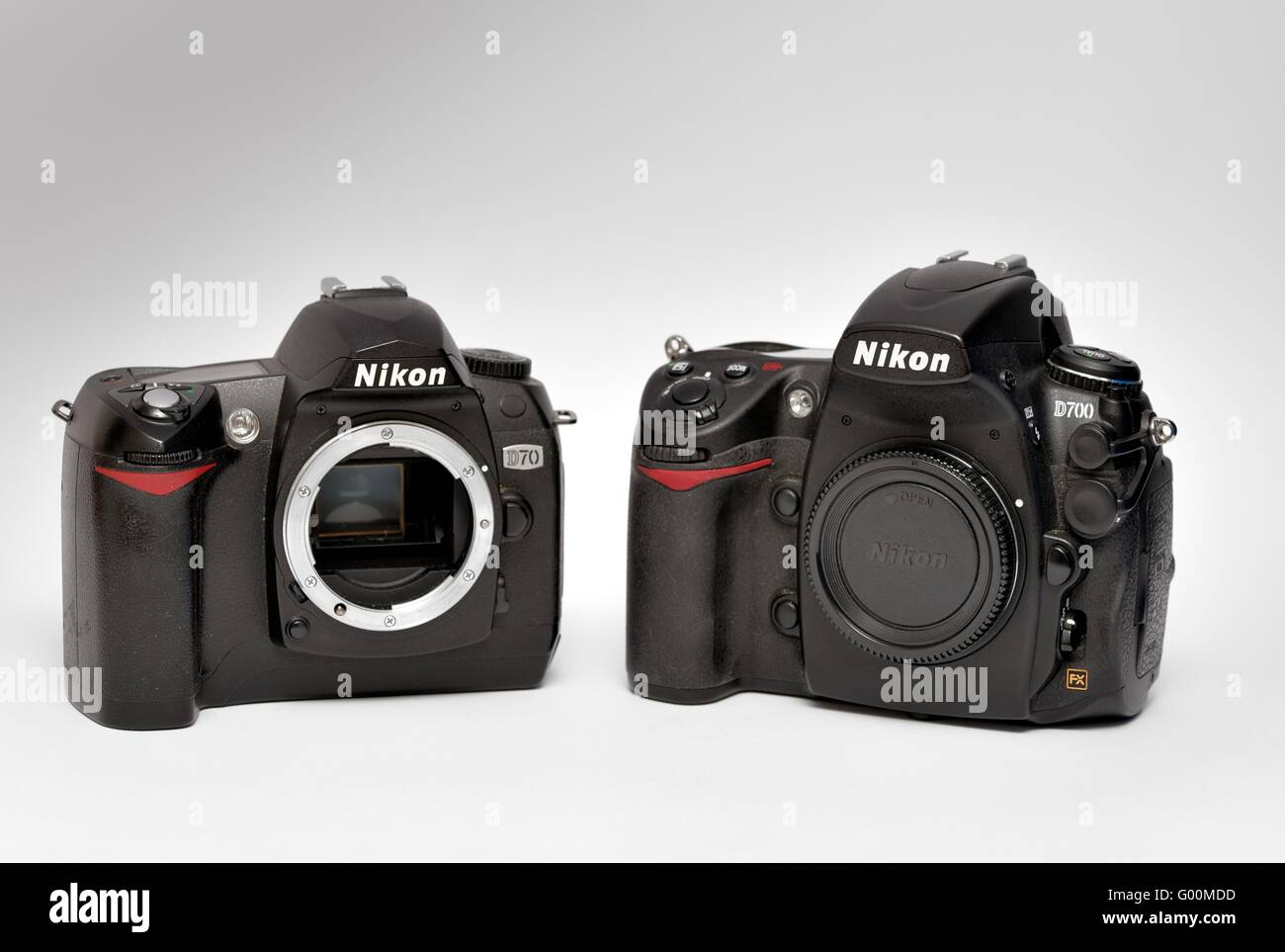 Nikon D70 and D700 digital SLR cameras - Stock Image