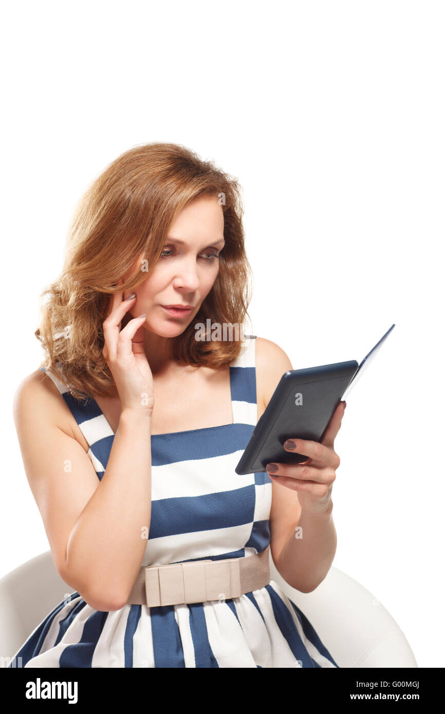 business woman uses a ebook - Stock Image