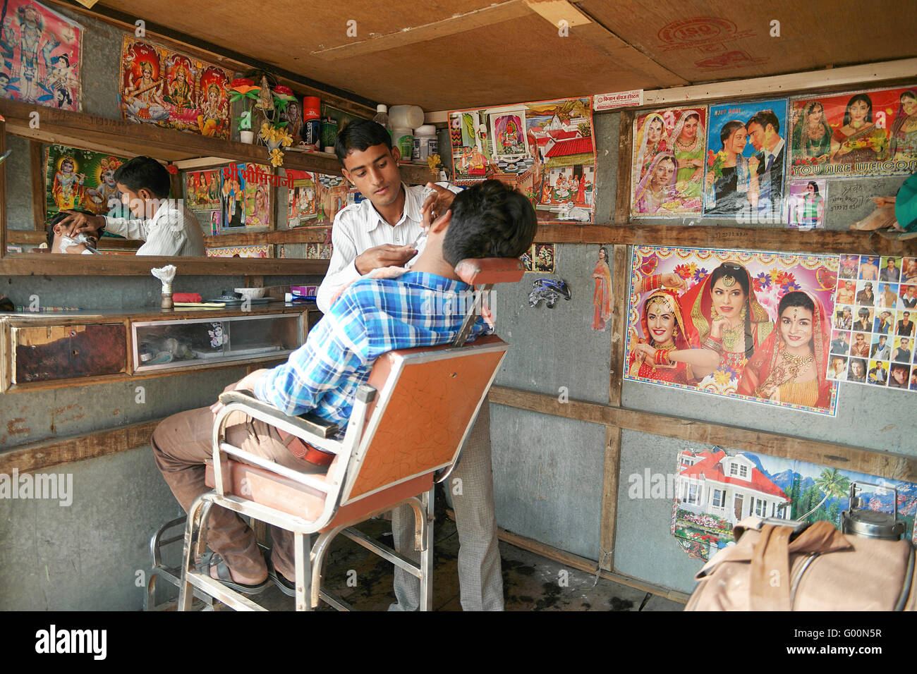 The barber shop in the street of Pushkar, India. Stock Photo